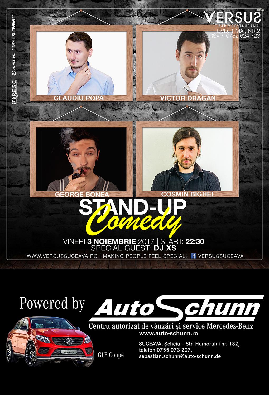 Stand-up comedy cu Claudiu Popa, Victor Dragan, George Bonea și Cosmin Bighei