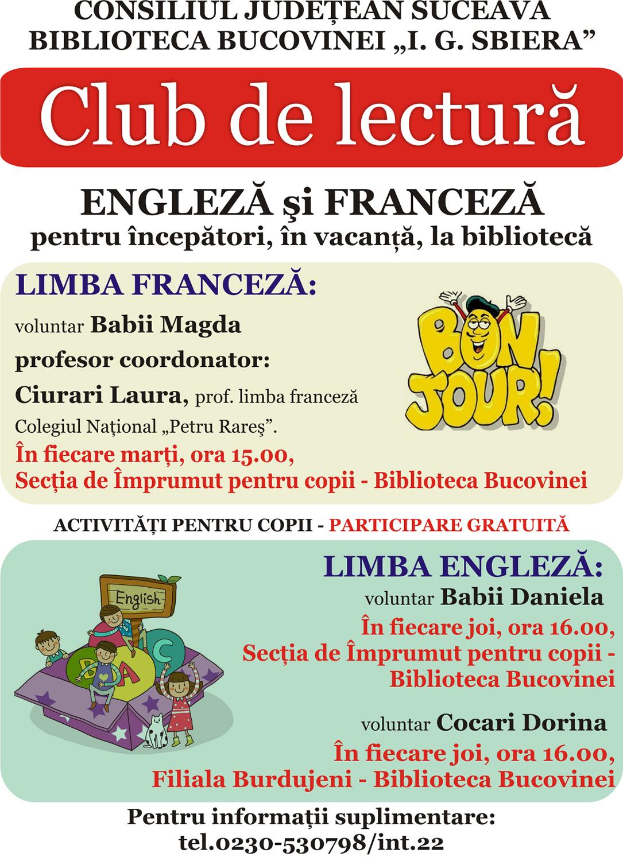 Club de lectură în limbile engleză și franceză la Biblioteca Bucovinei I. G. Sbiera din Suceava
