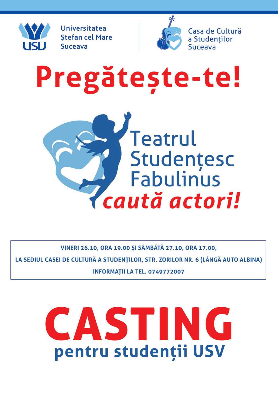 Teatrul Studențesc Fabulinus caută actori