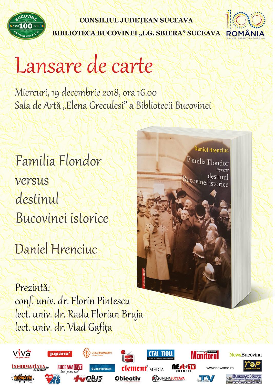 Daniel Hrenciuc – Familia Flondor versus destinul Bucovinei istorice