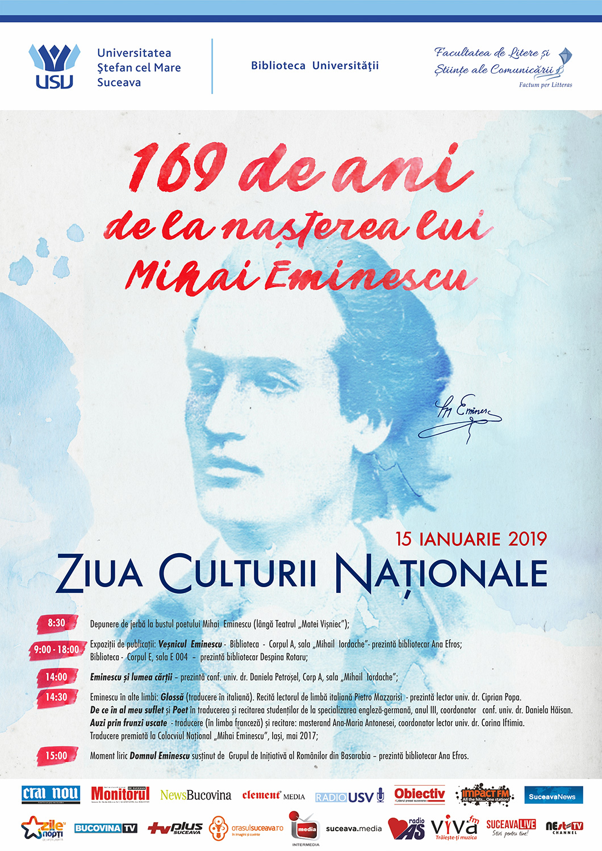 169 de ani de la nașterea lui Mihai Eminescu