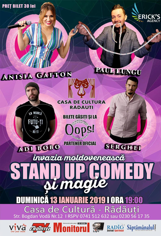 Stand-up comedy cu Anisia Gafton, Paul Lungu, Adi Bobo și Serghei