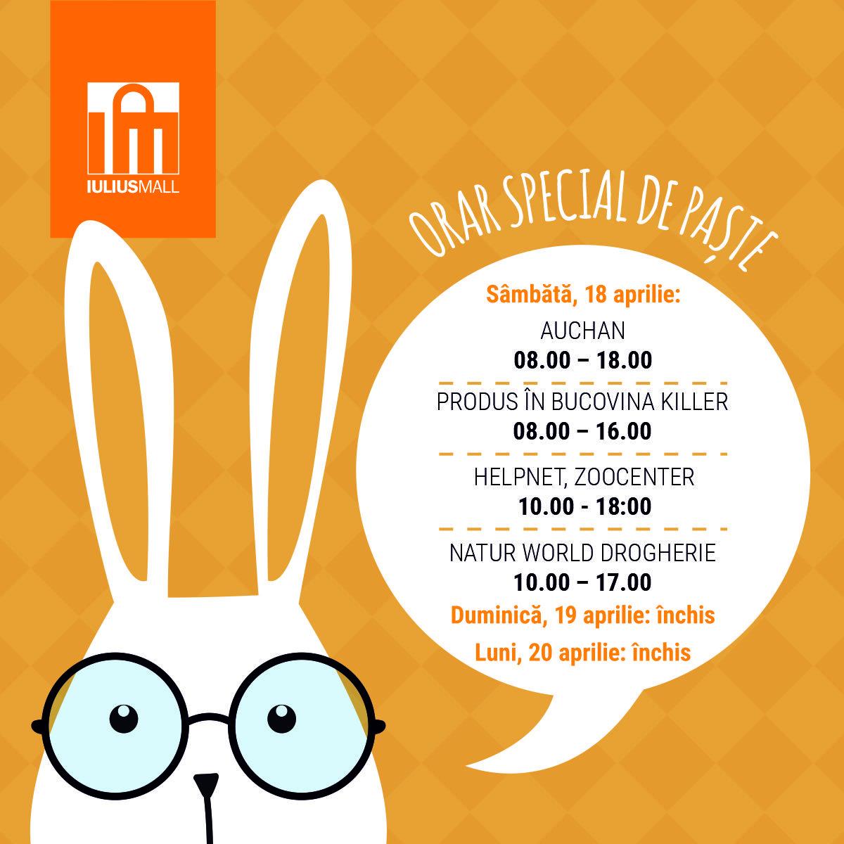 Program special de Paște al magazinelor deschise din Iulius Mall Suceava