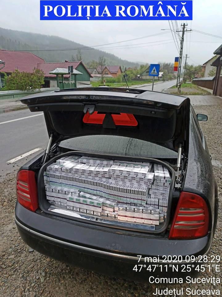 Aproape 130.000 de țigarete de proveniență extracomunitară și un autoturism confiscate în urma unei  acțiuni de prevenire și combatere a faptelor de contrabandă