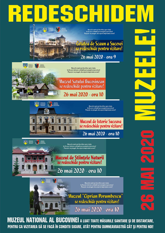 Muzeul Național al Bucovinei redeschide pentru vizitare, începând cu data de 26 mai 2020, cinci dintre obiectivele sale