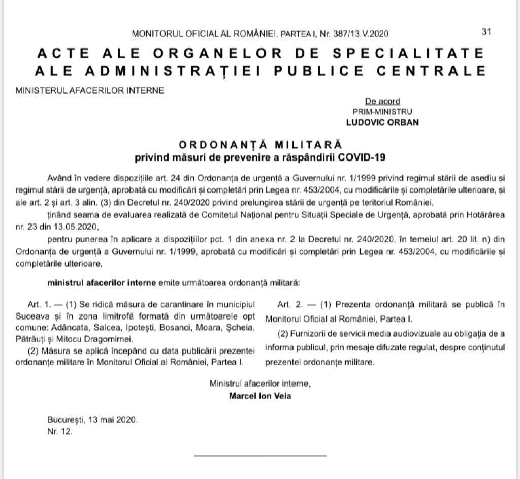 Se ridică măsura de carantinare în municipiul Suceava și în zona limitrofă