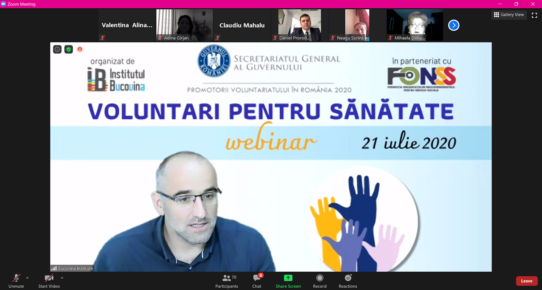 """Activități și proiecte de voluntariat prezentate în cadrul webminarului regional """"Voluntari pentru sănătate"""""""