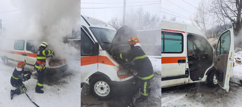 Incendiu la o autoutilitară, în municipiul Vatra Dornei
