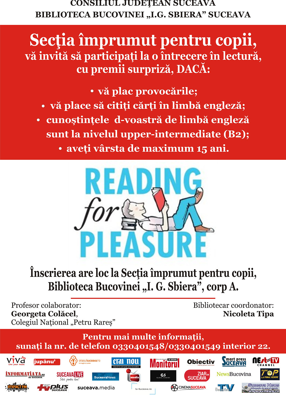 """Reading for pleasure"" la Biblioteca Bucovinei I. G. Sbiera din Suceava"